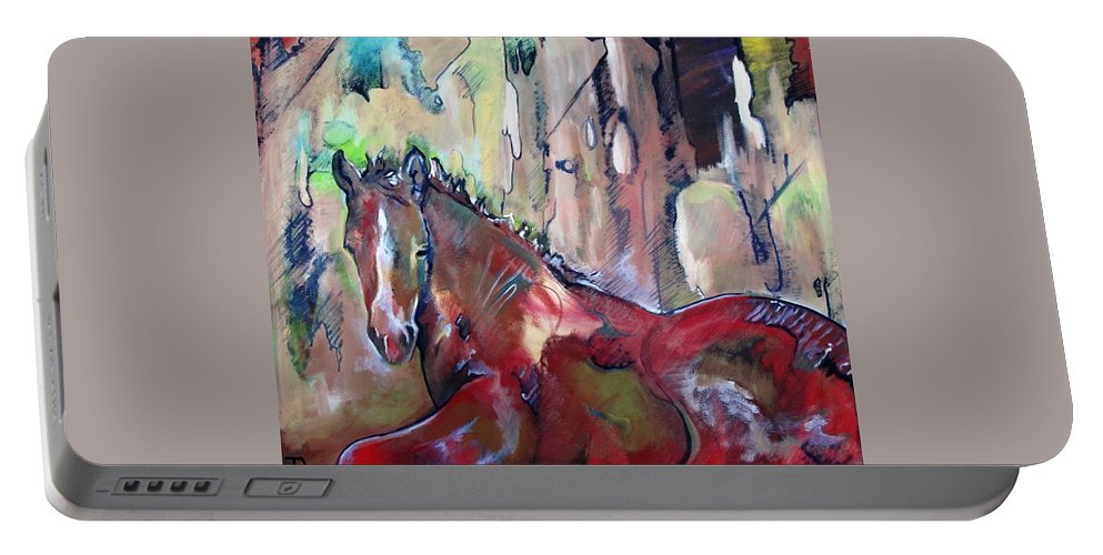 Horse Portable Battery Charger featuring the painting Red Colt by Idie Karr