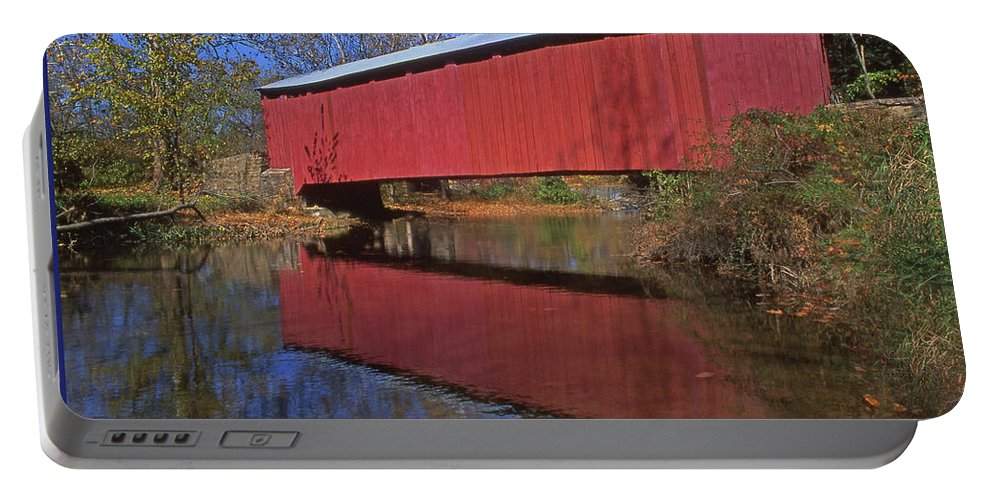 Historic Covered Bridges Portable Battery Charger featuring the photograph Red Covered Bridge And Reflection by Blair Seitz