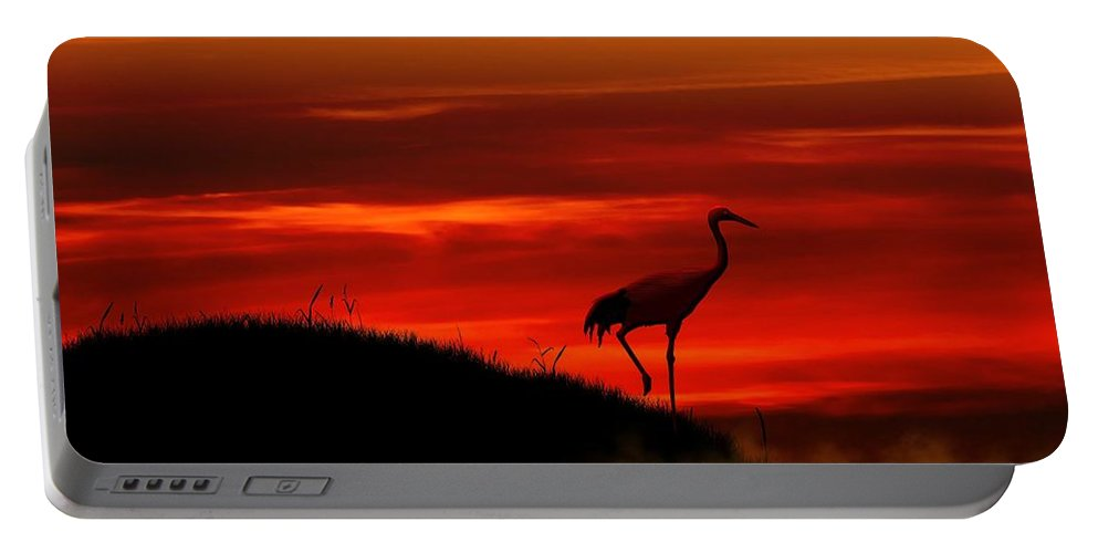 Red Crowned Crane Portable Battery Charger featuring the digital art Red Crowned Crane At Dusk by John Wills