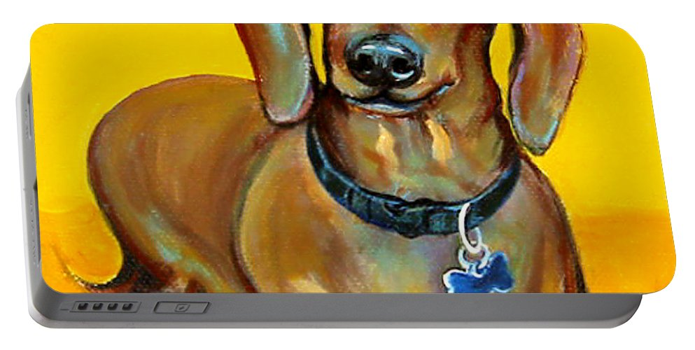 Rebecca Korpita Portable Battery Charger featuring the painting Red Dachshund - Tigger Smiles by Rebecca Korpita