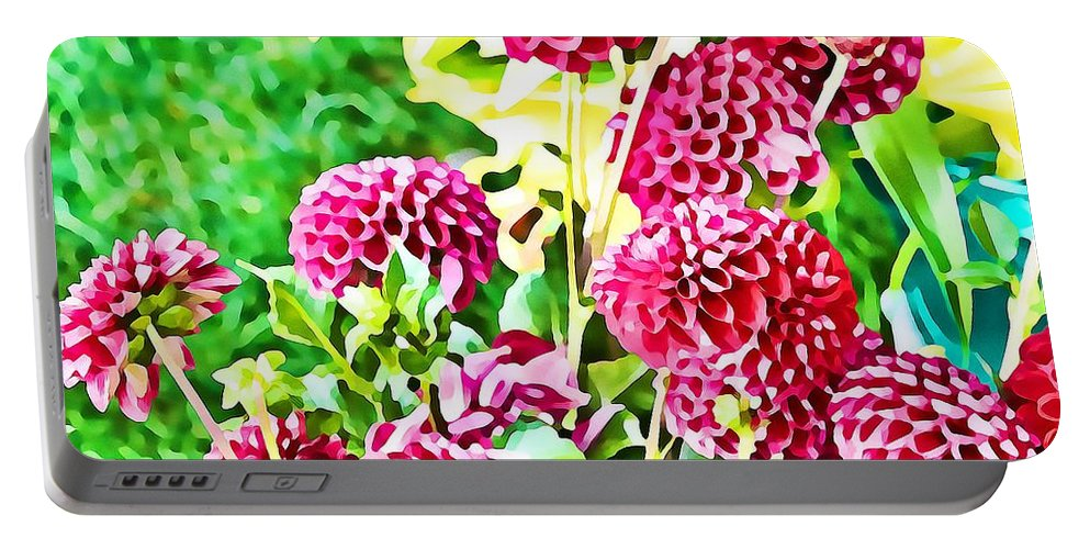 Dahlia Portable Battery Charger featuring the digital art Red Dahlias by Mary Pille
