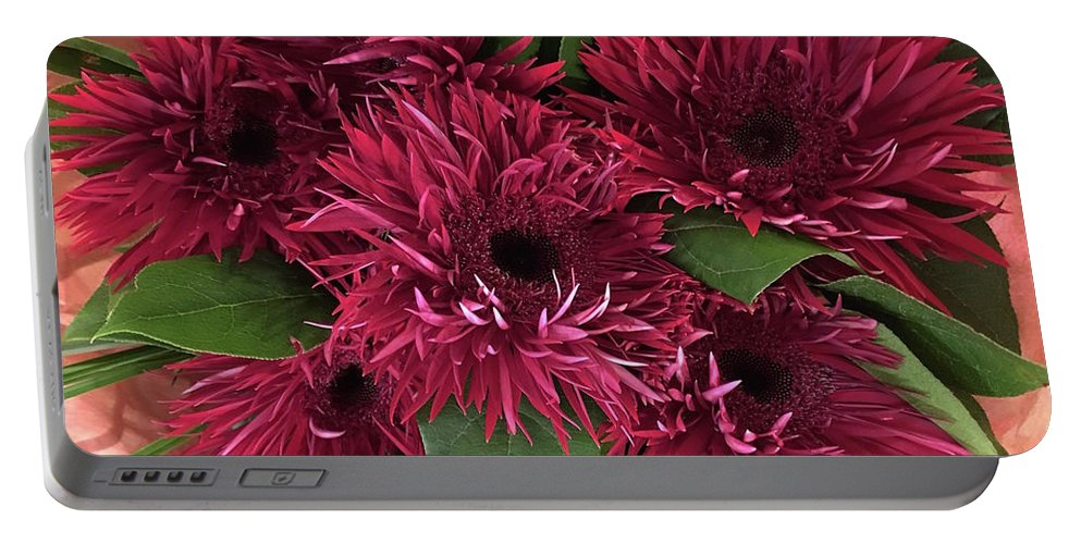Red Daisies Bouquet Portable Battery Charger featuring the photograph Red Daisies Bouquet by Jeannie Rhode