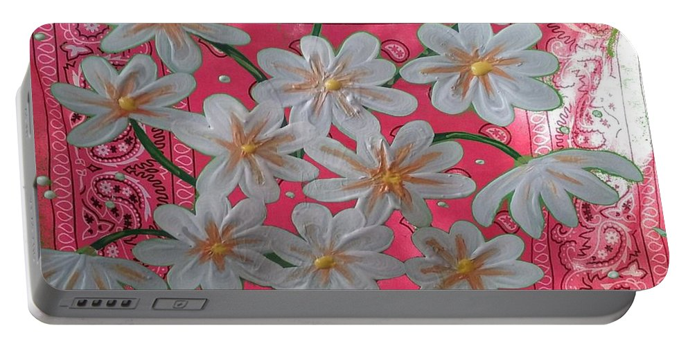 Painting Portable Battery Charger featuring the painting Red Daisies by Michael Prostka and Heidi Lutz