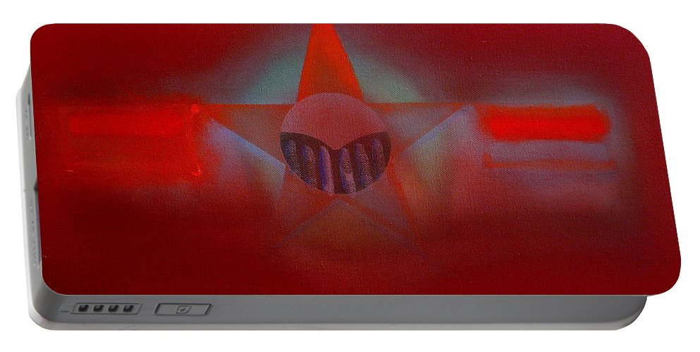 Usaaf Insignia And Idealised Landscape In Union Portable Battery Charger featuring the painting Red Dawn by Charles Stuart
