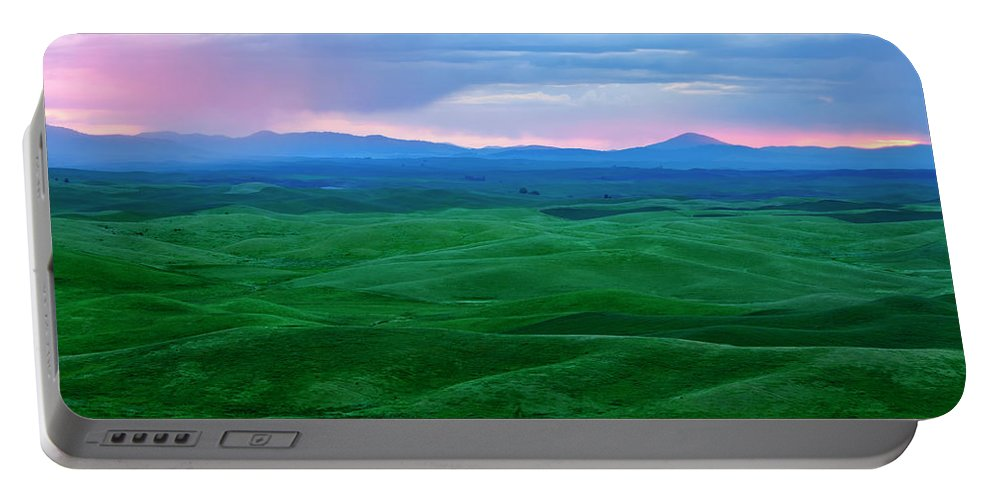 Palouse Portable Battery Charger featuring the photograph Red Dawn Over The Palouse by Mike Dawson