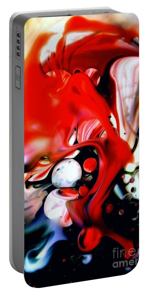 Abstract Portable Battery Charger featuring the mixed media Red Drape by Lisa Roberts