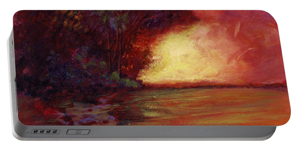 Impressionism Portable Battery Charger featuring the painting Red Dusk by Julianne Felton