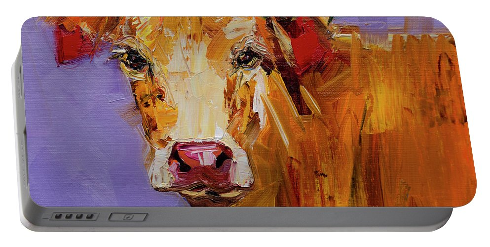 Cow Art Oil Painting Portable Battery Charger featuring the painting Red Earring Cow by Diane Whitehead