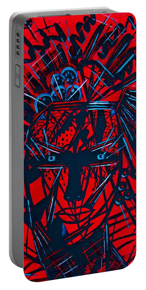 Abstract Portable Battery Charger featuring the painting Red Exotica by Natalie Holland
