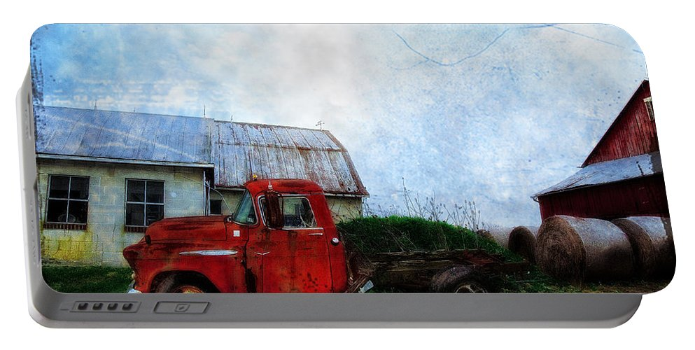 Red Portable Battery Charger featuring the photograph Red Farm Truck by Bill Cannon