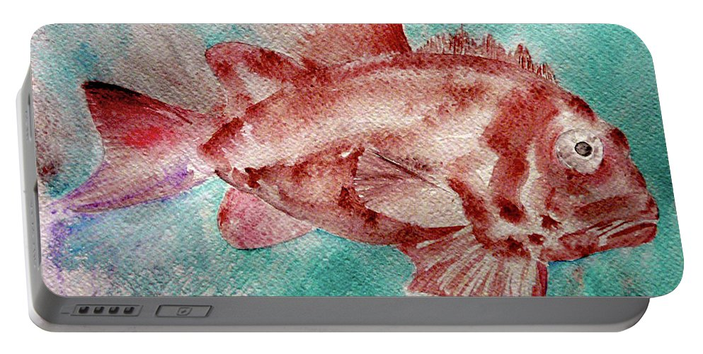 Fish Portable Battery Charger featuring the painting Red Fish by Jasna Dragun