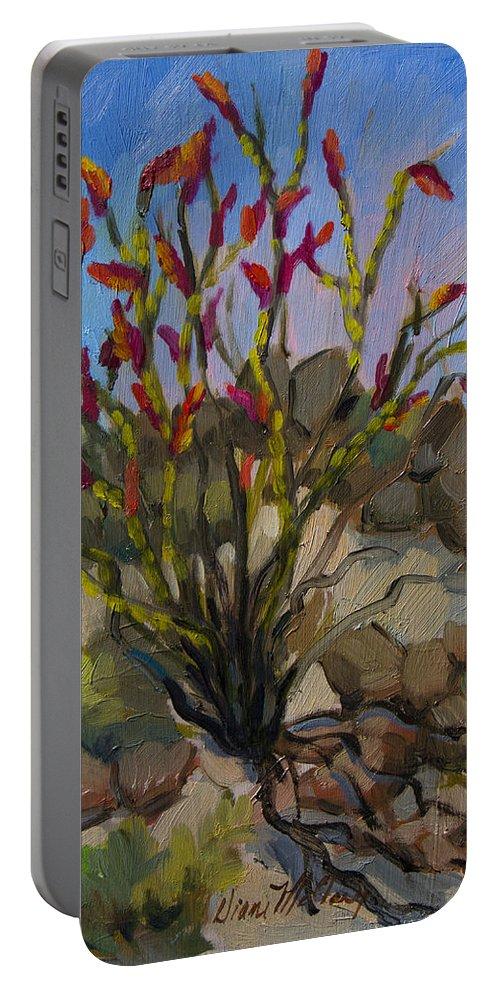Ocotillo Portable Battery Charger featuring the painting Red Flame Ocotillo 5 by Diane McClary