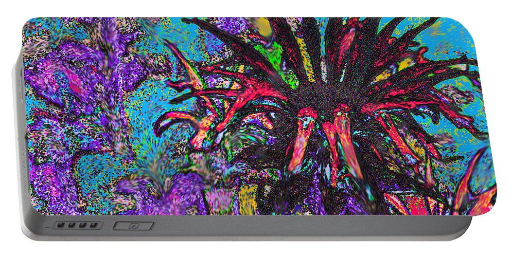 Abstract Portable Battery Charger featuring the digital art Red Flower In The Garden by Ian MacDonald