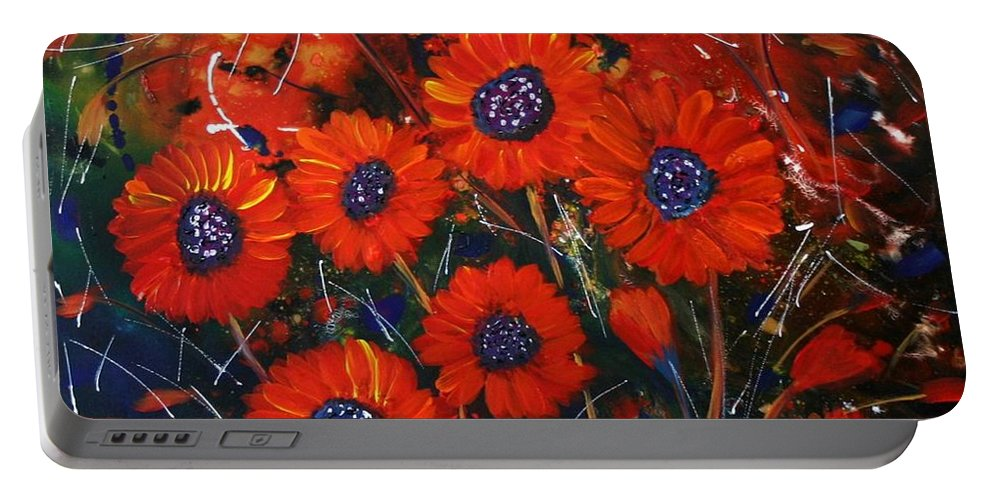 Flowers Portable Battery Charger featuring the painting Red Flowers In The Night by Luiza Vizoli