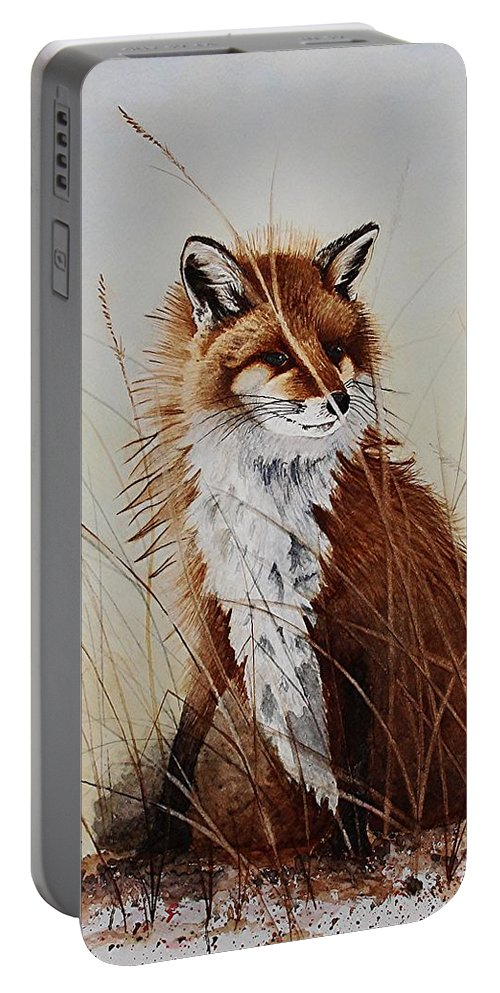Wildlife Portable Battery Charger featuring the painting Red Fox Waiting On Breakfast by Jimmy Smith