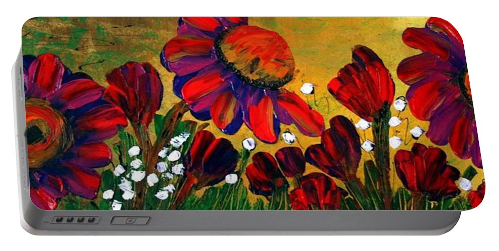 Flowers Portable Battery Charger featuring the painting Red Garden by Luiza Vizoli