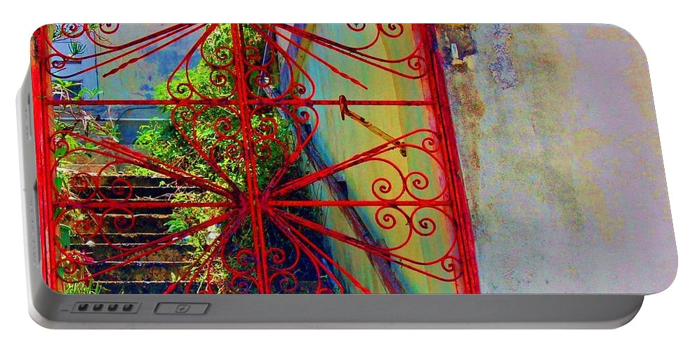 Gate Portable Battery Charger featuring the photograph Red Gate by Debbi Granruth