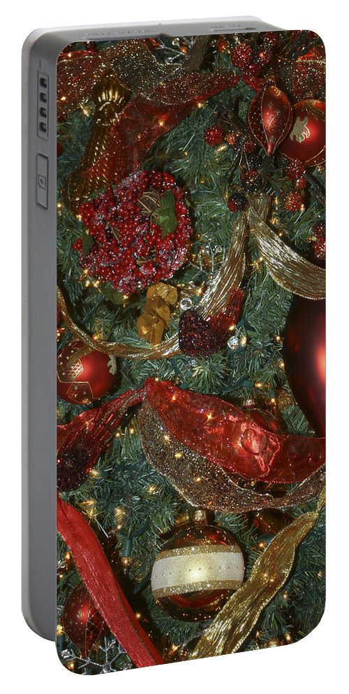 Christmas Portable Battery Charger featuring the photograph Red Gold Tree No 3 Fashions For Evergreens Event Hotel Roanoke 2009 by Teresa Mucha