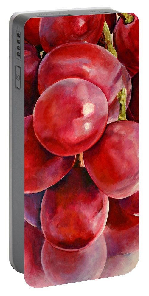 Red Portable Battery Charger featuring the painting Red Grape Reflections by Toni Grote