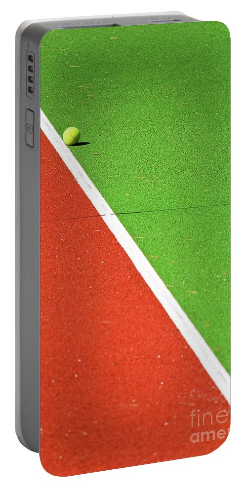Tennis Portable Battery Charger featuring the photograph Red Green White Line And Tennis Ball by Silvia Ganora