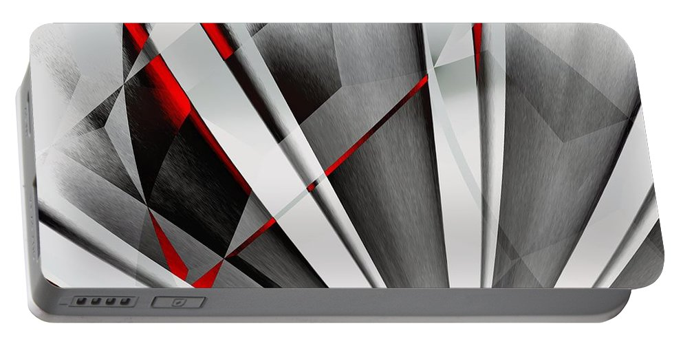 Abstractum Portable Battery Charger featuring the digital art Red-grey Abstractum by Max Steinwald