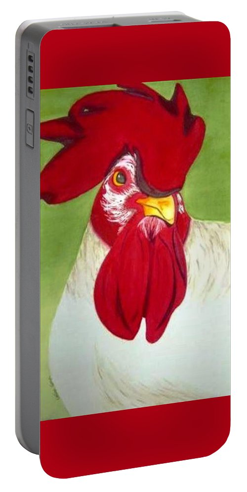 Diva Portable Battery Charger featuring the painting Red Hat Diva by Colleen Giorgi