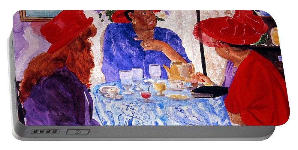 Red Hat Portable Battery Charger featuring the painting Red Hatters Chatter by Jean Blackmer