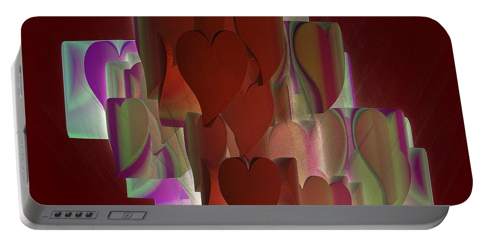 Hearts Portable Battery Charger featuring the digital art Red Hearts by Deborah Benoit