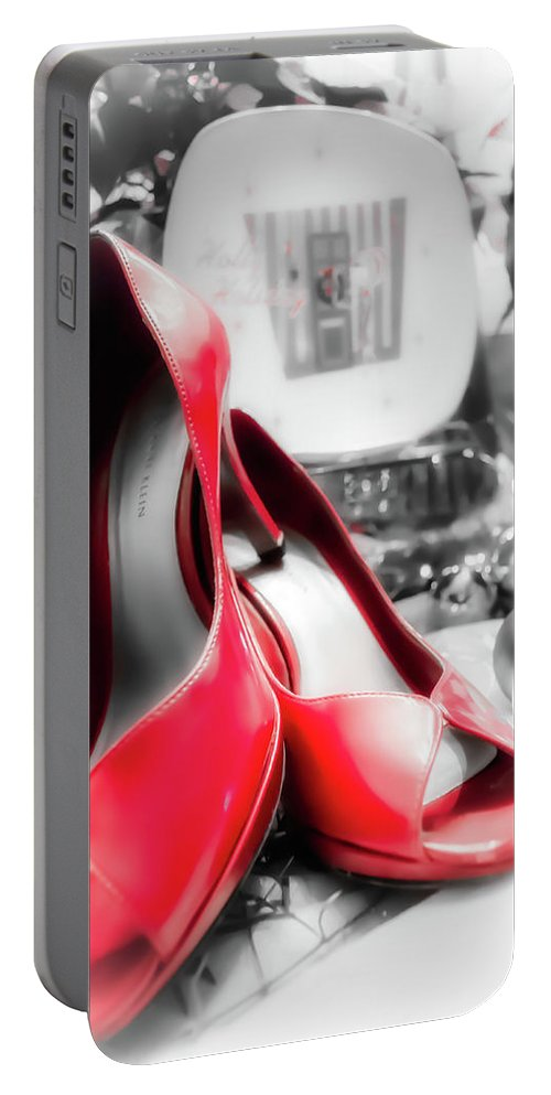 Still Portable Battery Charger featuring the photograph Red High Heels by Jim Love