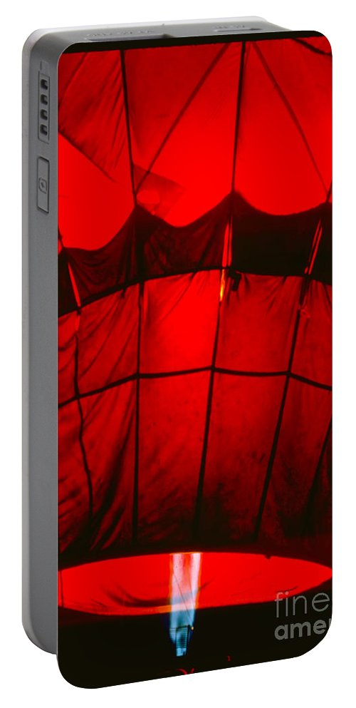 Balloon Portable Battery Charger featuring the photograph Red Hot Air Balloon by Thomas Marchessault