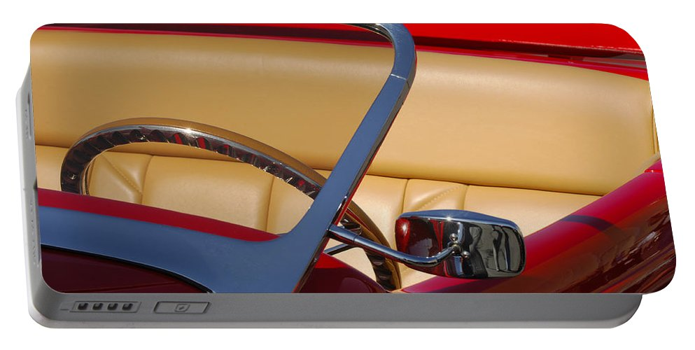 Car Portable Battery Charger featuring the photograph Red Hot Rod by Jill Reger
