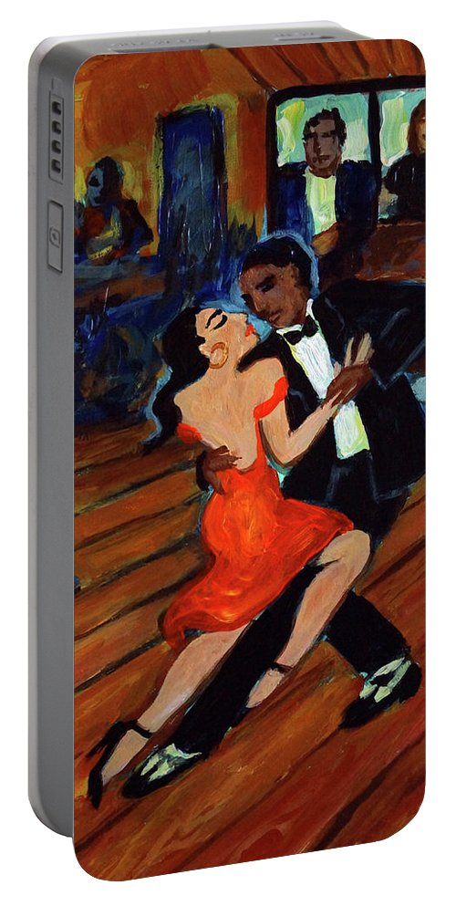 Latin Dancing Portable Battery Charger featuring the painting Red Hot Tango by Valerie Vescovi