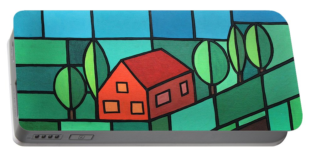 Paint Portable Battery Charger featuring the painting Red House Amidst The Greenery by Jutta Maria Pusl