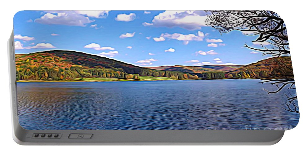 Autumn Portable Battery Charger featuring the photograph Red House Lake Allegany State Park Expressionistic Effect by Rose Santuci-Sofranko
