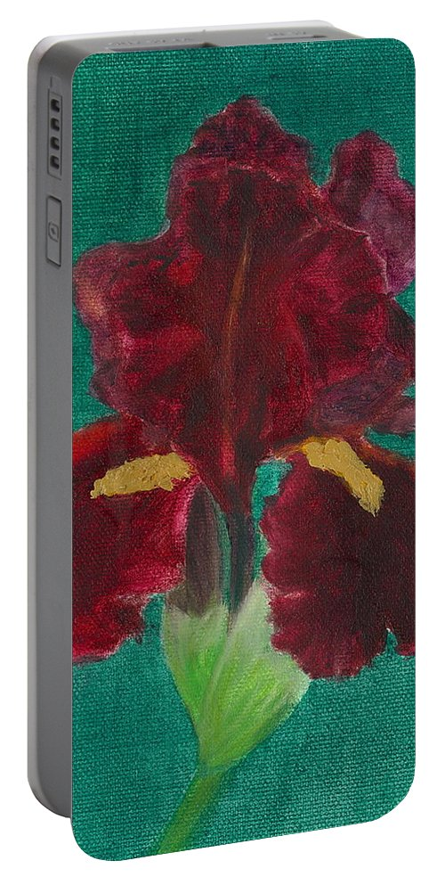 Flower Portable Battery Charger featuring the painting Red Iris by Paula Emery