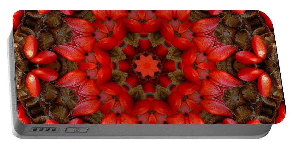 Kaleidoscope Portable Battery Charger featuring the digital art Red Kaleidoscope No. 1 by Lyle Hatch
