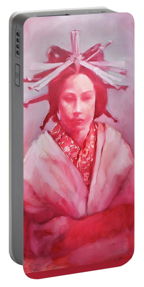 Lady Portable Battery Charger featuring the painting Red Lady by Janay Everett