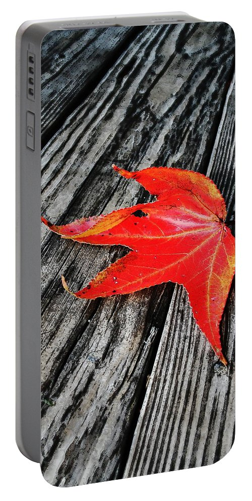 Nature Portable Battery Charger featuring the photograph Red Leaf by Linda Sannuti