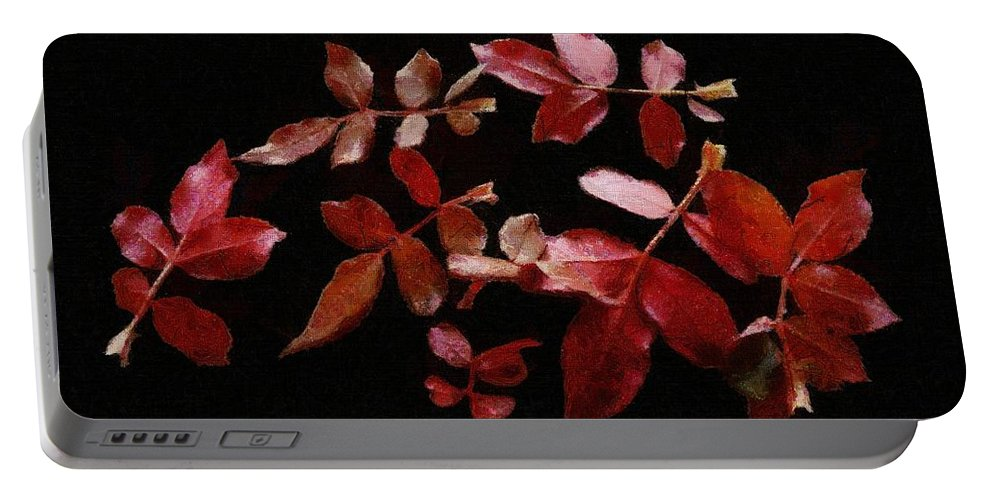 Autumn Portable Battery Charger featuring the painting Red Leaves by Jeffrey Kolker