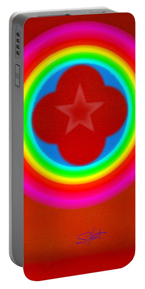 Landscape Portable Battery Charger featuring the painting Red Logo by Charles Stuart