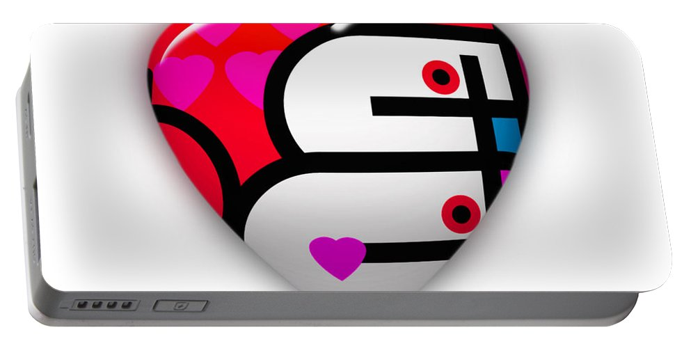 Ubabe Brand Portable Battery Charger featuring the painting Red Love Heart by Charles Stuart