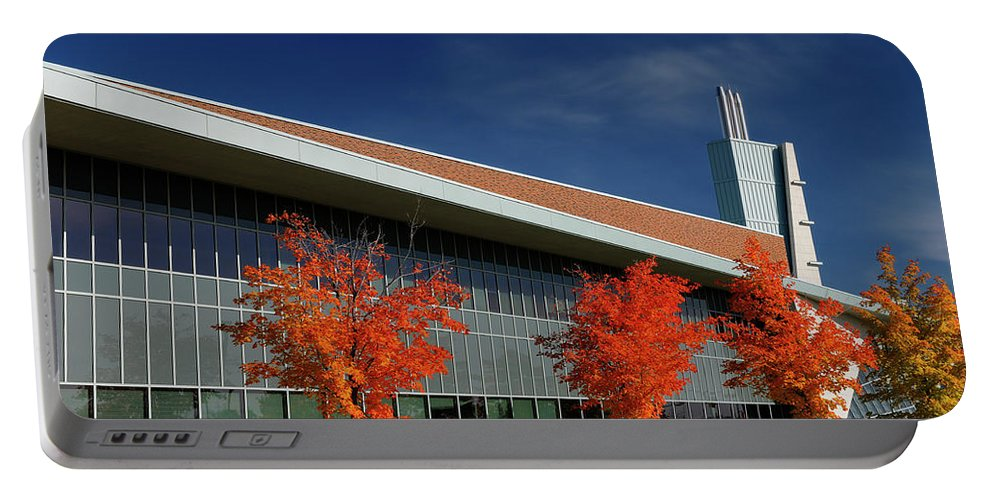 Modern Portable Battery Charger featuring the photograph Red Maple Trees And Modern Architecture Of Seneca College York U by Reimar Gaertner