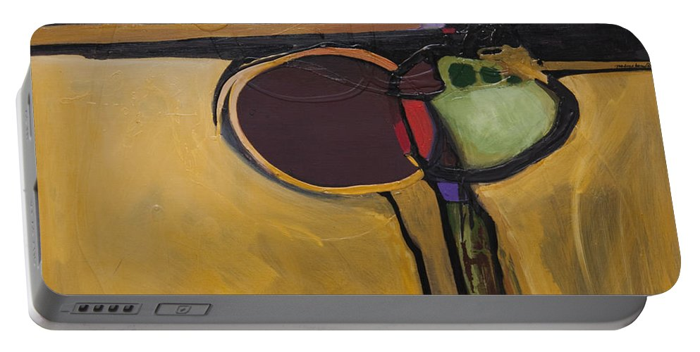 Abstract Portable Battery Charger featuring the painting Red Moon Rising by Marlene Burns