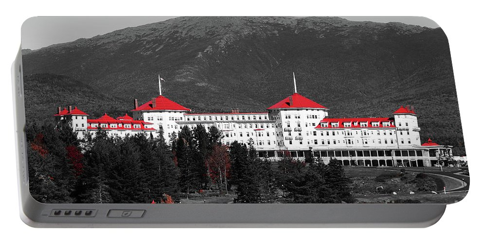Red Portable Battery Charger featuring the photograph Red Mount Washington Resort by Patti Whitten