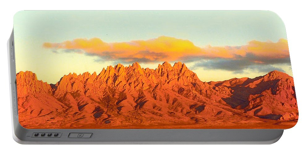 A Jack Pumphrey Photograph Of The Organ Mountains-desert Peaks National Monument Portable Battery Charger featuring the photograph Red Mountain Sunset Organs by Jack Pumphrey
