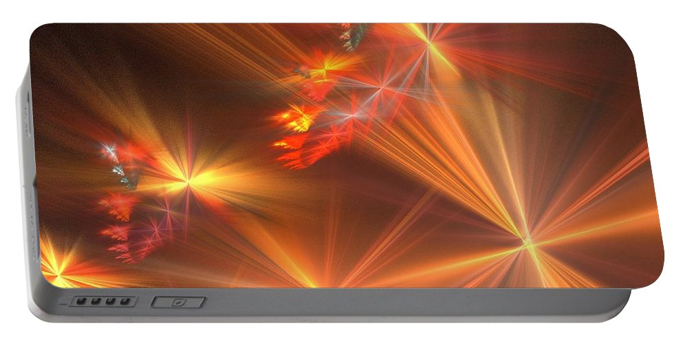 Apophysis Portable Battery Charger featuring the digital art Red Orange Wishes by Kim Sy Ok