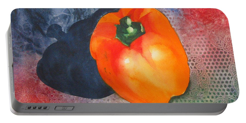 Pepper Portable Battery Charger featuring the painting Red Pepper Solo by Jean Blackmer