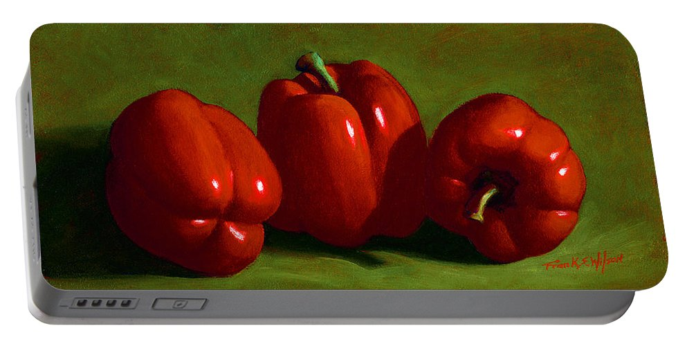 Red Peppers Portable Battery Charger featuring the painting Red Peppers by Frank Wilson