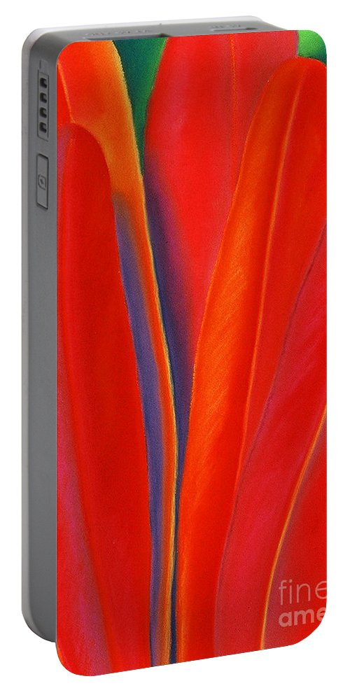 Red Portable Battery Charger featuring the painting Red Petals by Lucy Arnold