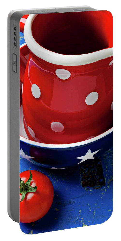 Pitcher Bowl Portable Battery Charger featuring the photograph Red Pitcher And Tomato by Garry Gay